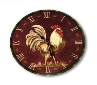 Country Roman NUMERAL Farm Rooster Wall Clock