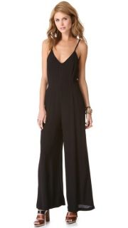 Line & Dot Deep V Jumpsuit