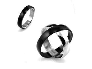 Black & Silver Stainless Steel Twistable Spinning 5mm Band Ring (Size 5)