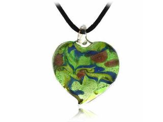 Murano Glass Gold Color Green Blue Bronze Swirl Glitter Heart Silk Pendant Neckl