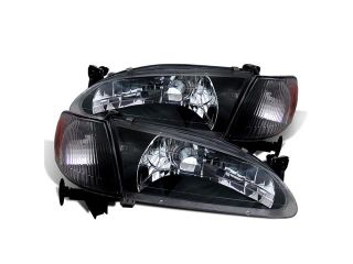 CG TOYOTA COROLLA 98 00 CRYSTAL HEADLIGHT BLACK AMBER WITH CORNER LIGHT 02 AZ TO98 SET B A PAIR