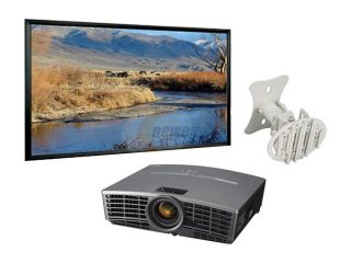 "MITSUBISHI HD1000 DLP 720p Home Theater Projector w/ 106"" Fixed Frame Screen, celling mount, 30"" HDMI & 25"" component cables"