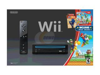 Nintendo Wii System w/New Super Mario Brothers & Mario Music CD Black  Nintendo Wii Consoles