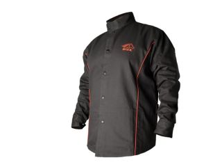 Revco BSX BX9C  9oz. FR Cotton Welding Jacket Black W/ Red Flames, 3X Large