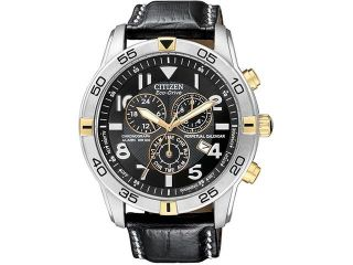 Citizen BL5476 00E Stainless Steel Case Eco Drive Chronograph Alarm Perpetual Calendar Black Dial Leather Strap