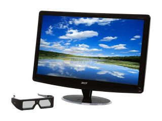 "Acer HS244HQbmii Black 23.6"" 2ms Full HD HDMI WideScreen LCD 120Hz 3D  Monitor w/Speakers & 3D glasses 300 cd/m2 ACM 12,000,000:1 (1,000:1)"