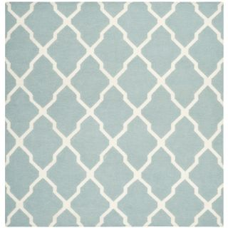 Safavieh Hand woven Moroccan Dhurrie Light Blue Wool Rug (6 Square)