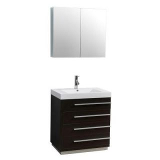 Virtu USA Bailey 29 1/10 in. Single Basin Vanity in Wenge with Poly Marble Vanity Top in White and Medicine Cabinet Mirror JS 50530 WG