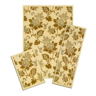 Capri Floral Whisper 3 Piece Set Contains 5 ft. x 7 ft. Area Rug, Matching 22 in. x 59 in. Runner and 22 in. x 31 in. Mat X817/373 I